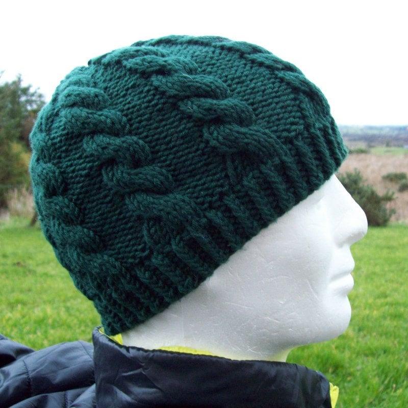 KNITTING PATTERN/ INISHMOR Mans Cable Knit Fishermans HatPattern ...