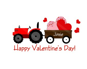 Tractor Pulling Valentines Personalized Digital Image for iron-ons,heat transfers, T-Shirts, Onesies, Bibs, Towels, Aprons, DIY YOU PRINT