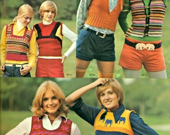 Shrink Tops to Knit & Crochet Patterns, Go Way Back to 1974 Patterns, 7 Different Designs, Go Bohemian Today