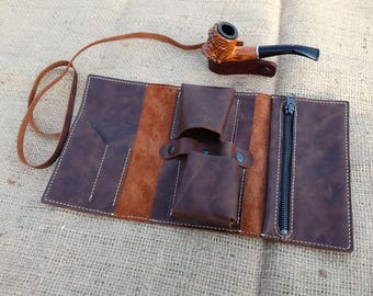 leather Pipe roll for 2 pipes, Anniversary gift, Leather pouch, Rolling pipe case, Pipe Bag, Pipe Case, Tobacco pouch, Gift for him, Pipe