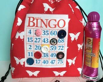Bingo Bag - Red Butterfly Drawstring Bag - Mother's Day Gift - Reusable Lunch Bag - Bingo Gift - Bingo Dauber Bag - Makeup Bag - Bingo Caddy