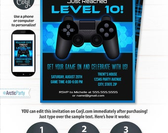 Video game birthday party invitations video game invitations video game invitations video game party invitation video game birthday gaming party invitation blue instant access edit now stopboris Choice Image
