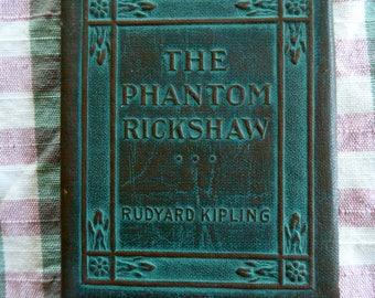 Antique Green  Library Small Book The Phantom Rickshaw Rudyard Kipling Classic Literature New York Little Leather Library 1920's