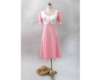 1970 pink gingham Dress kawaii  small