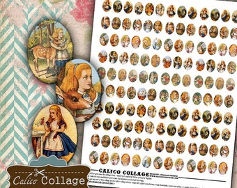 18x13mm, Alice in Wonderland, Collage Sheet, Alice Cameo Images, Craft Sheet, Images for Earrings, Calico Collage, Small Oval Images