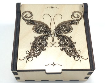 Butterfly Jewelry Box, Wood Trinket Box, Small Jewelry Case, Laser Cut Box, Jewelry Storage Box, Butterfly Wood Box, Jewelry Organizer