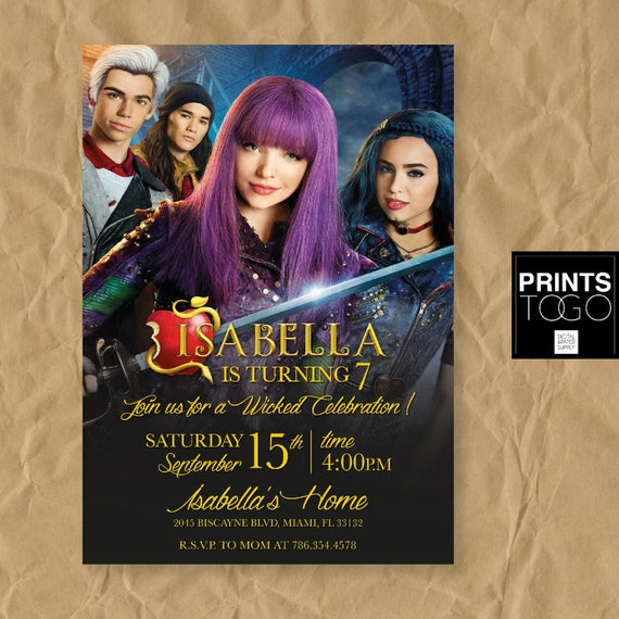 Descendants Invitation Disney Descendants