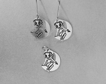Sterling Silver Betty Boop Charm and earrings with french wires (925 silver) Swinging on the Moon