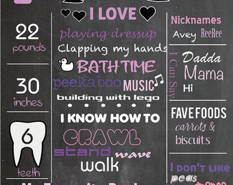 Birthday chalkboard sign - baby's first birthday poster - digital or printed