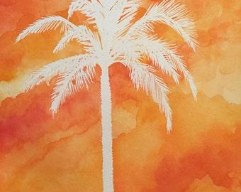 Sunset Palm (Original Watercolor)