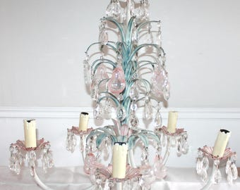 BEAUTIFUL, Vintage Tole Chandelier, French Toleware, Flower Chandelier, Metal Chandelier, French Lighting, Vintage Lighting, Rose Flower