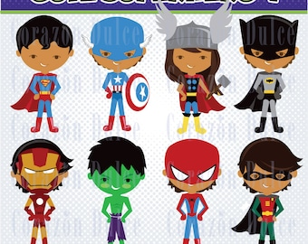 Cute Superhero- Personal and Commercial Use Clip Art -INSTANT DOWNLOAD FILES -