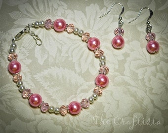 Bridesmaid  Bracelet and Earrings -- Pink Glass Pearls and Crystals -- Bridesmaids and flowergirls