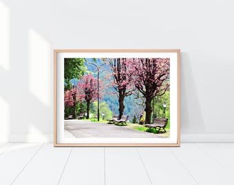 Poland Watercolor Landscape Painting, Printable Wall Art, Instant Download Art Print, Park Watercolor Print, Cherry Blossom Print, Europe