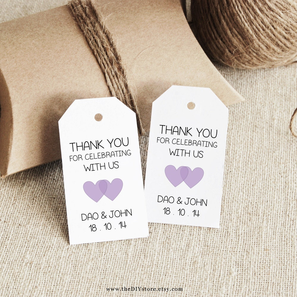 Favor Tag Template Lavender Printable SMALL Double Heart