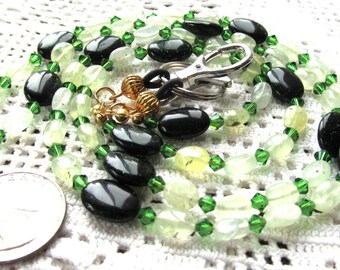 Badge or Eyeglass Lanyard Green Garnets Swarovski Crystals and Greenstone Beads