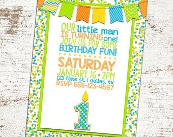Custom First Birthday Invitation - Blue, Orange, Green Candle