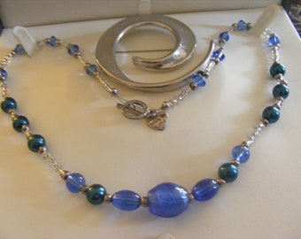 Lovely Large Vintage Brooch Plus Pretty Blue Necklace