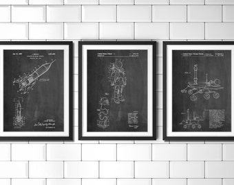 Outer Space Decor Patent Posters Group of 3, Space Art, Outer Space Nursery, Astronaut, Rocket, Mars Rover, NASA, PP1166