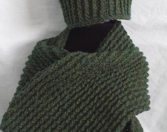Mens Forest Green Scarf & Hat Set