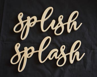 Splish Splash, Wooden Words, Connected Words, Wooden Words Cut Out, Home Decor, Wall Decor, Bathroom Decor, Kitchen Decor, Wall Hanging