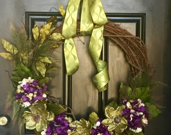 Mixed Hydrangea Wreath ~ WREATHS ~ Front Door Wreath ~ MAGNOLIA Wreath ~ Door Decor  ~ Year Round Wreath  ~ Door Wreath