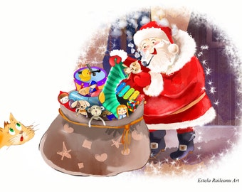 Santa filling the stockings with gifts - Winter Illustrations