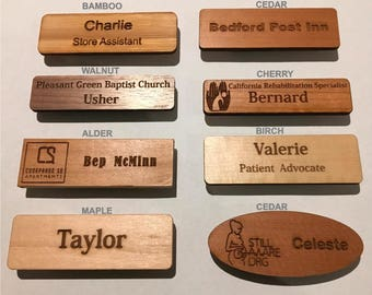 75x25x3mm Timber Staff Name Tags, Name Badges, Clip on Tags, Magnetic Tags, Custom Laser Engraving Personnel Name Badges Various Material