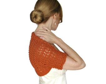 Lace Wedding Shrug Mia Bridal Bolero Cashmere Merino Nectarine Orange Mesh Hand Knit Jacked Knitted Cover Up Short Sleeves Size XS S