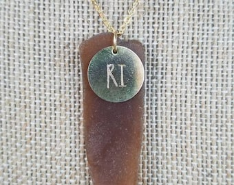 Rhode Island Etched Charm Brown Sea Glass Pendant
