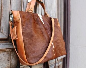 Cowhide bag, brown cow hide bag, leather crossbody bag, cow hide purse, brown woman bag