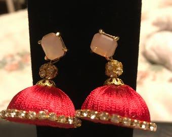 Jhumka Style Dangling Silk Earrings