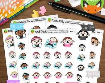 Mixed Workout Kawaii Girls - Mixed Fitness Weights Exercise Cardio - Planner Stickers (K0073)