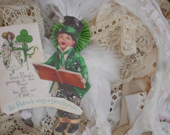 St.Patrick's Day*St.Patrick was a gentleman  ornament*Hand cut*Hand painted German glitter.  ASdorable.
