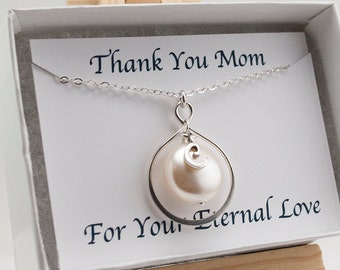 Thank You Mom Necklace, Mothers Necklace with Card, Infinity Necklace, Mother's Day Gift, Personalized Mom Necklace, Cream Swarovski Pearl