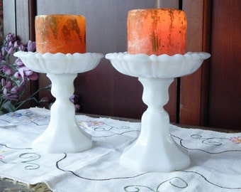 Custom Made ~Upcycled Vintage MILK GLASS Set Of 2~Piller Candle Holders~Cottage Chic~Fresh Airy~Spring Decor