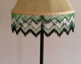 Beige Lamp Shade with Green Beaded Fringe