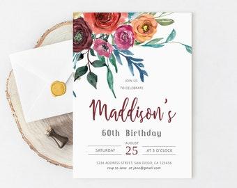 Birthday Invitations 60th, Birthday Invitation women, For adults, Floral, Elegant, Any age, 40th, 50th, 60th, 70th, Printable, Digital