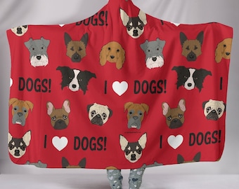 I Love Dogs Hooded Sherpa Blanket - Great Gift For Dog Lovers