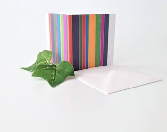 Original graphic design notecard for any occasion - multicolour stripes note card to say hello Blank inside Any occasion colourful card