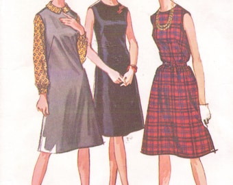 60s Womens Shift Dress or Jumper and Blouse Jewel Neckline McCalls Sewing Pattern 6959 Size 16 Bust 36 Vintage Sewing Patterns