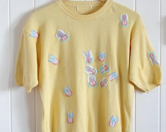 90's, yellow, cute, vintage, embroidery, top