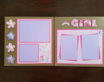 """Glamour Girl 2 Page 12""""x12"""" Premade Scrapbook Layout, Toddler Girl Scrapbook, Playing Dress-Up, Shadow Box Framed Gift, Party Decoration"""