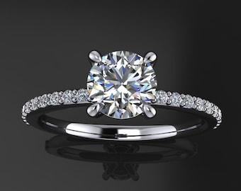 shay ring - .8 carat diamond cut round NEO moissanite engagement ring