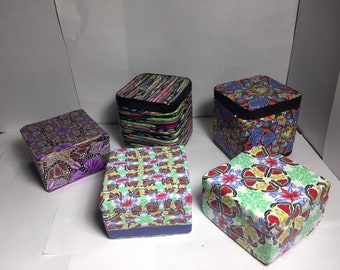 Polymer clay decorated metal boxes