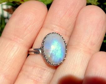 SALE, Rainbow Moonstone Adjustable Sterling Silver Ring