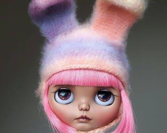 Pastel rainbow furry Blythe bunny hat