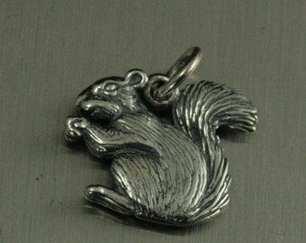 Sterling Silver Squirrel Charm--Animal Pendant--Wildlife Charm--Forest Animal--Tree Creature--Acorn Eater--Bushy Tail--