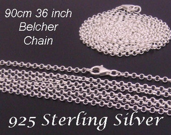 """Long Silver Chain, Long 925 Sterling Silver Chain, 90cm 36"""" Long x 2.0mm 