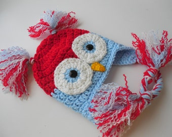 Crochet Owl Hat - Red White and Blue -  0 to 3 Months - Earflap Animal Hat - Patriotic Baby Hat - Reduced - Handmade Crochet - Ready to Ship